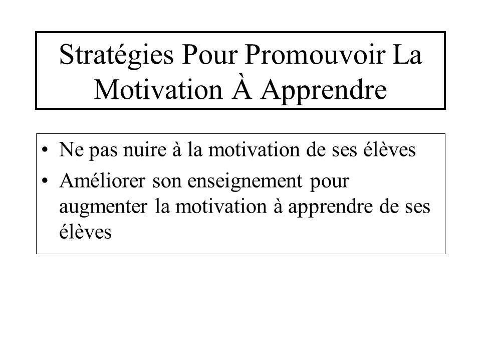 Stratégies Pour Promouvoir La Motivation À Apprendre Ne pas nuire à la motivation de ses élèves Améliorer son enseignement pour augmenter la motivatio