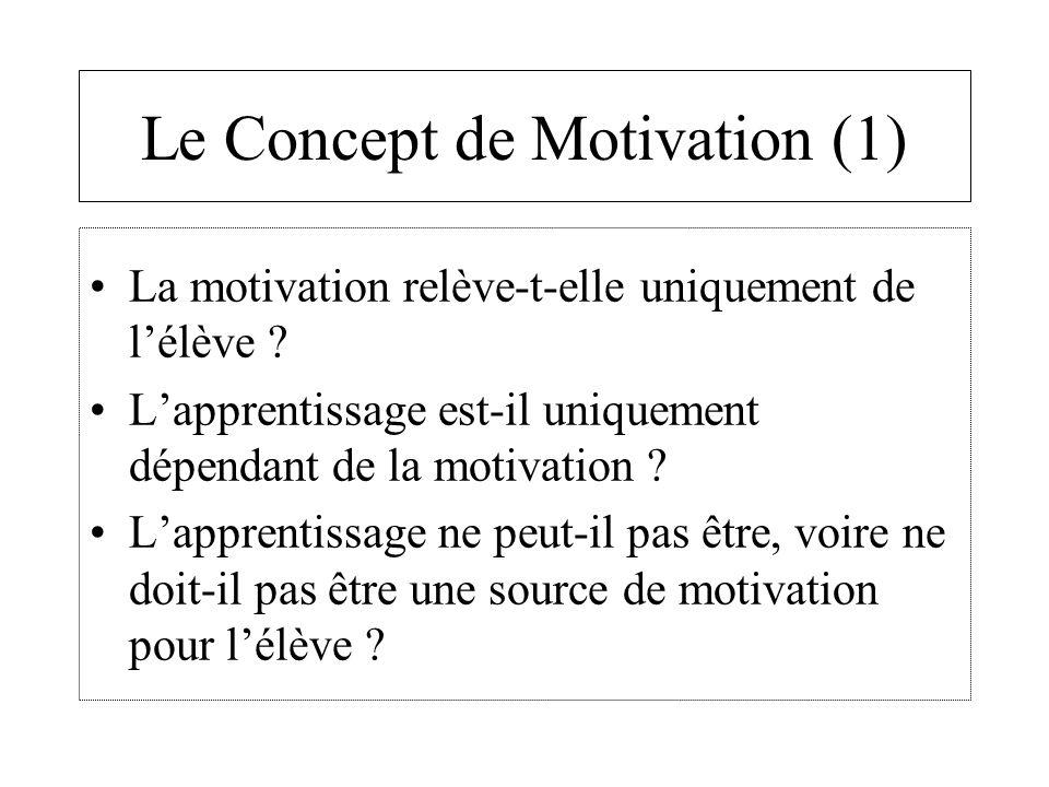 Le Concept de Motivation (2) Il existe 4 à 5 configurations comportementales permettant d'inférer le comportement d'un individu selon les auteurs : Le déclenchement du comportement La direction du comportement L'intensité du comportement La persistance du comportement La motivation continuée (proche de la persistance)