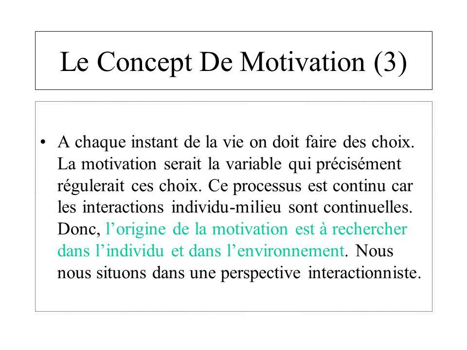 Le Concept De Motivation (3) A chaque instant de la vie on doit faire des choix. La motivation serait la variable qui précisément régulerait ces choix