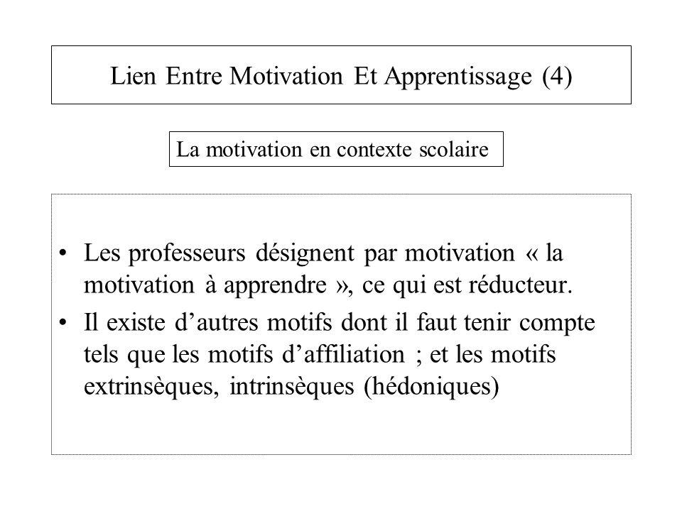 Lien Entre Motivation Et Apprentissage (4) Les professeurs désignent par motivation « la motivation à apprendre », ce qui est réducteur. Il existe d'a