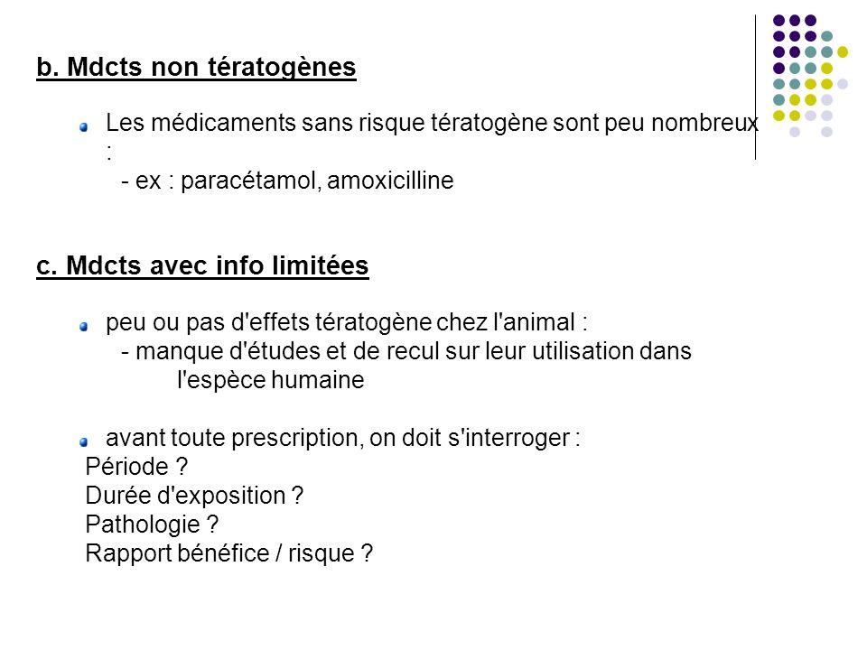 b. Mdcts non tératogènes Les médicaments sans risque tératogène sont peu nombreux : - ex : paracétamol, amoxicilline c. Mdcts avec info limitées peu o