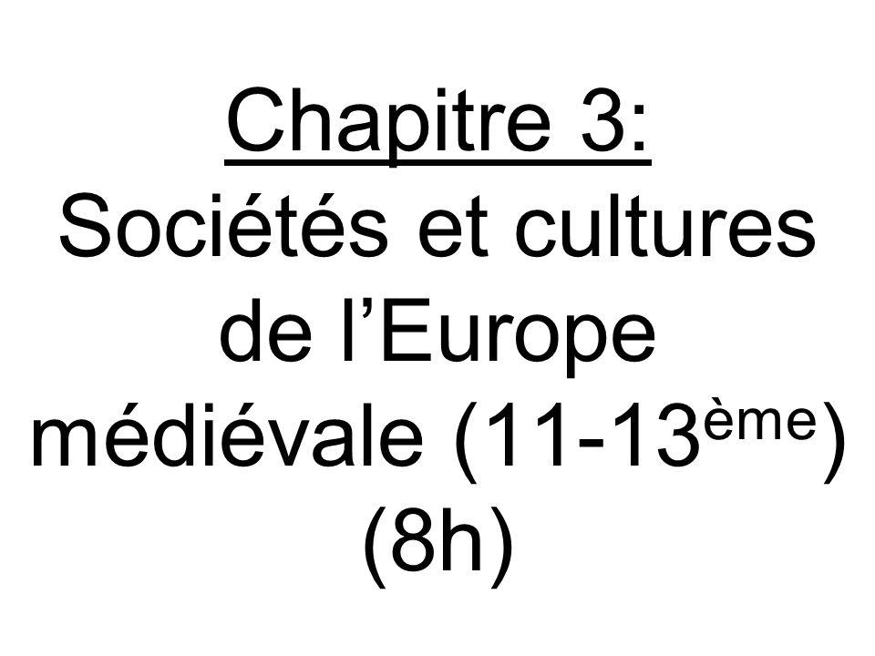 Chapitre 3: Sociétés et cultures de l'Europe médiévale (11-13 ème ) (8h)