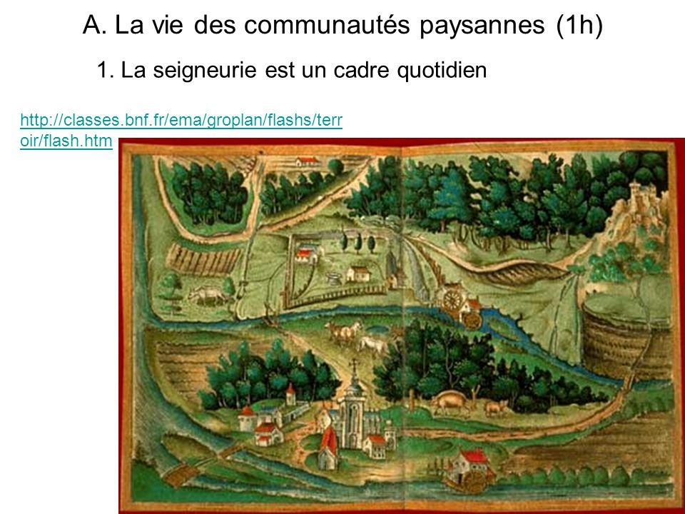 A. La vie des communautés paysannes (1h) http://classes.bnf.fr/ema/groplan/flashs/terr oir/flash.htm 1. La seigneurie est un cadre quotidien