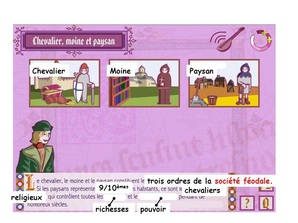 ChevalierMoinePaysan 9/10 èmes trois ordres de la société féodale. religieux richessespouvoir chevaliers