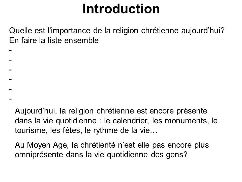Introduction Quelle est l'importance de la religion chrétienne aujourd'hui? En faire la liste ensemble - Aujourd'hui, la religion chrétienne est encor