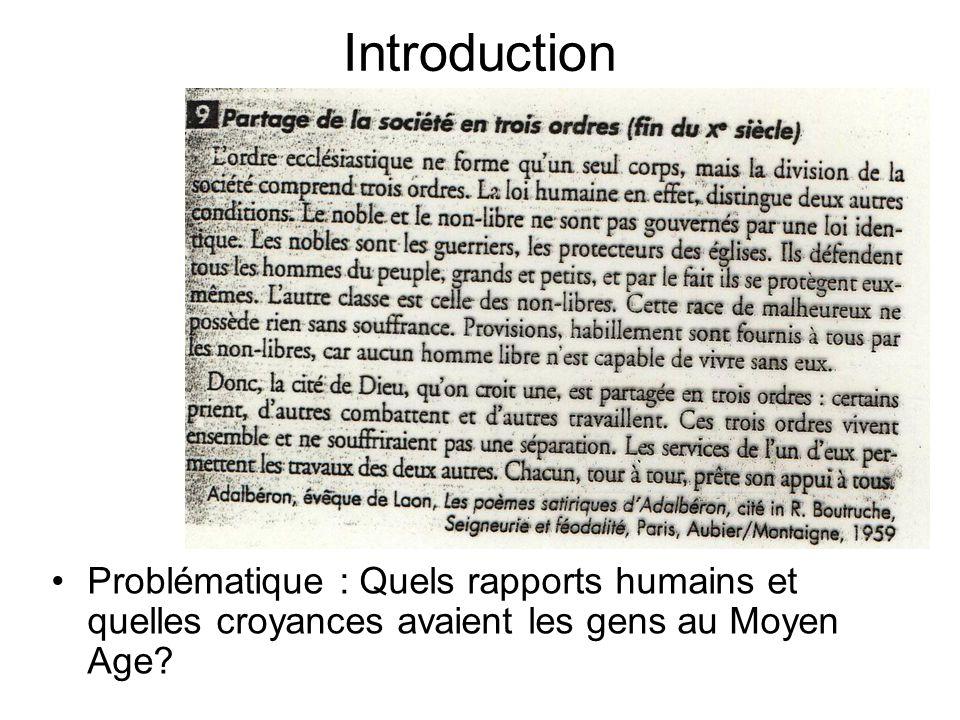 Introduction Problématique : Quels rapports humains et quelles croyances avaient les gens au Moyen Age?