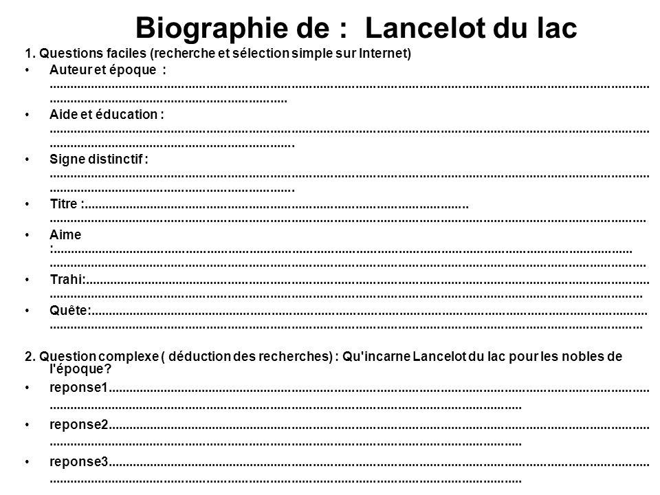 Biographie de : Lancelot du lac 1. Questions faciles (recherche et sélection simple sur Internet) Auteur et époque :..................................