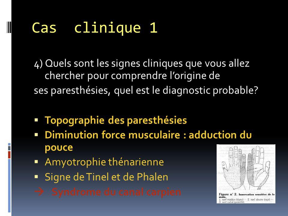 4) Quels sont les signes cliniques que vous allez chercher pour comprendre l'origine de ses paresthésies, quel est le diagnostic probable?  Topograph