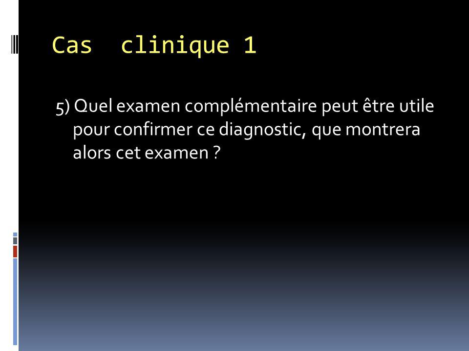 5) Quel examen complémentaire peut être utile pour confirmer ce diagnostic, que montrera alors cet examen ? Cas clinique 1