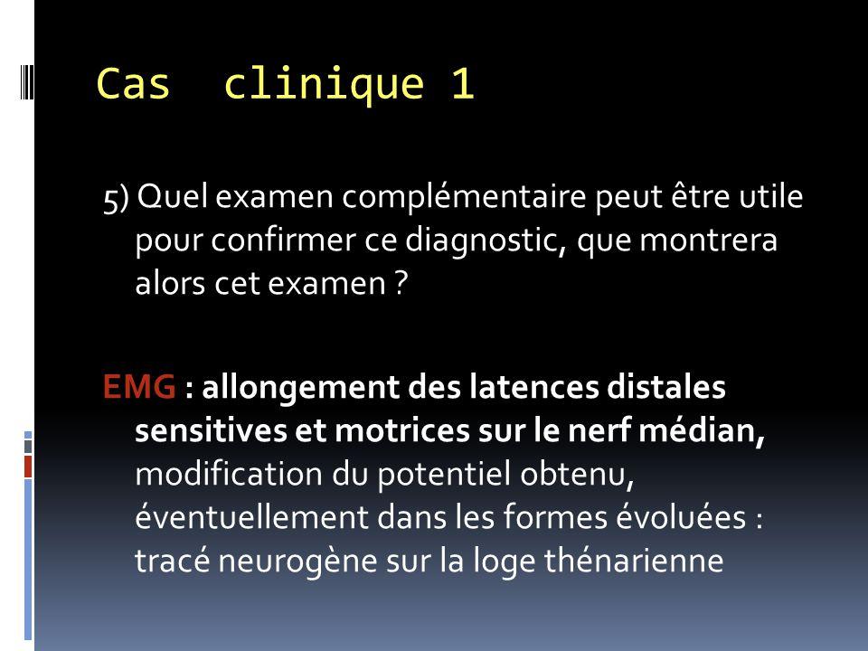 5) Quel examen complémentaire peut être utile pour confirmer ce diagnostic, que montrera alors cet examen ? EMG : allongement des latences distales se
