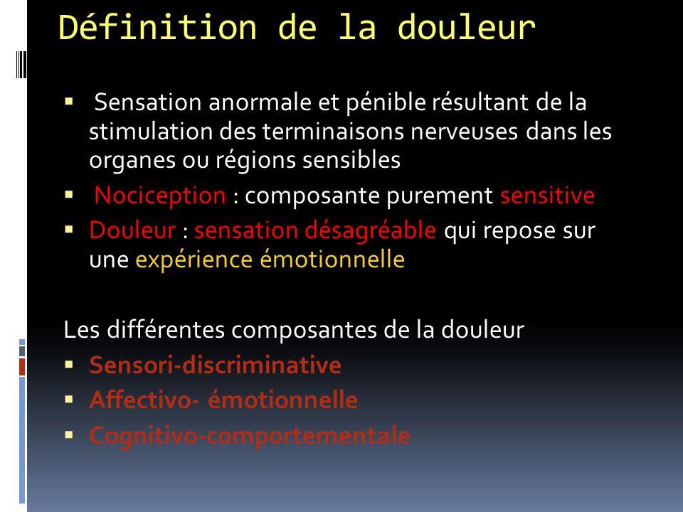 Définition de la douleur  Sensation anormale et pénible résultant de la stimulation des terminaisons nerveuses dans les organes ou régions sensibles