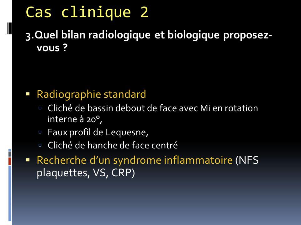 Cas clinique 2 3.Quel bilan radiologique et biologique proposez- vous ?  Radiographie standard  Cliché de bassin debout de face avec Mi en rotation