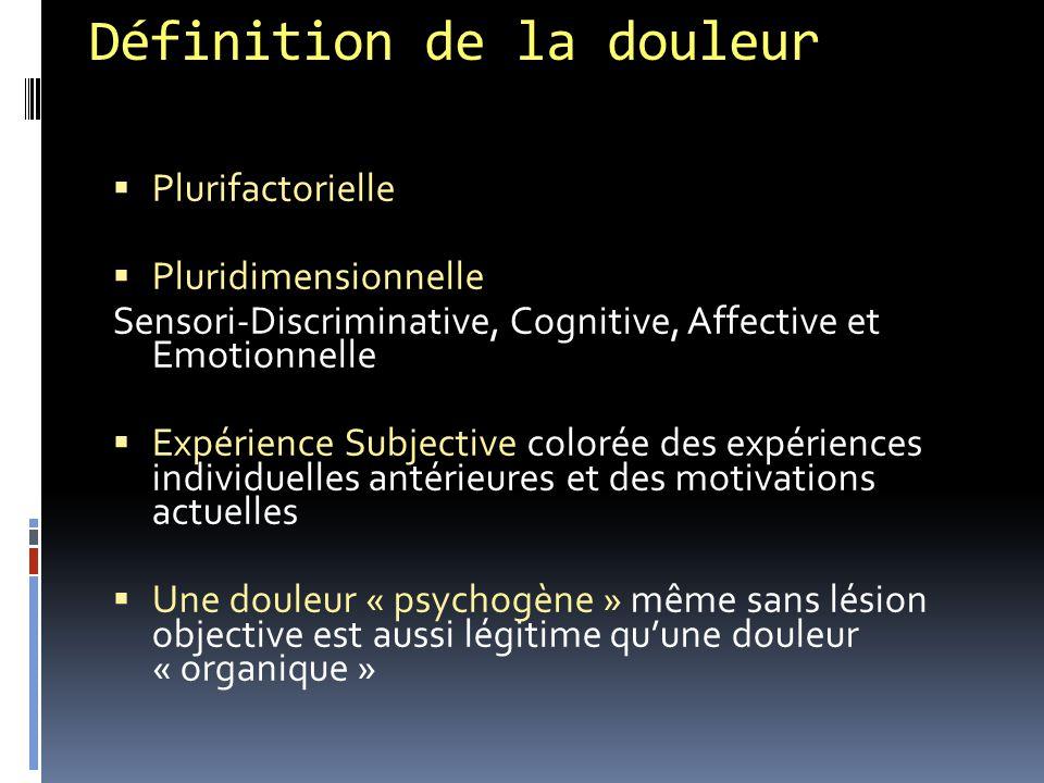 Définition de la douleur  Plurifactorielle  Pluridimensionnelle Sensori-Discriminative, Cognitive, Affective et Emotionnelle  Expérience Subjective