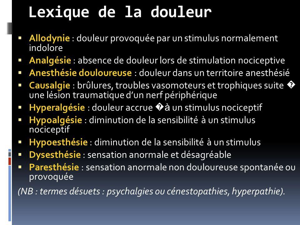 Lexique de la douleur  Allodynie : douleur provoquée par un stimulus normalement indolore  Analgésie : absence de douleur lors de stimulation nocice