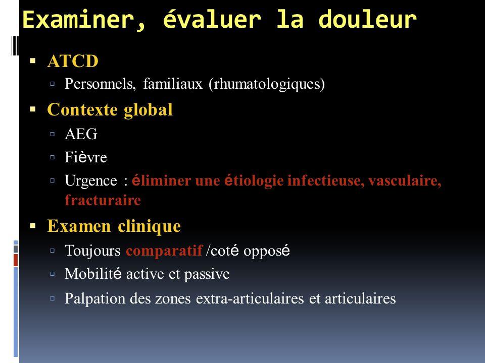 Examiner, évaluer la douleur  ATCD  Personnels, familiaux (rhumatologiques)  Contexte global  AEG  Fi è vre  Urgence : é liminer une é tiologie