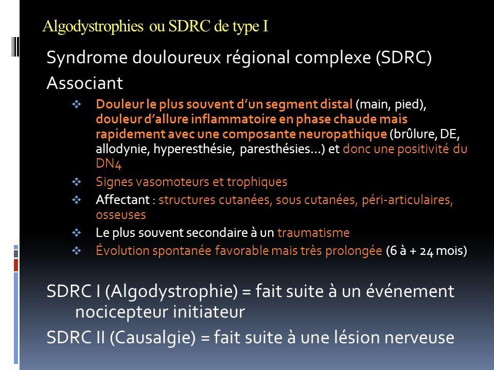 Algodystrophies ou SDRC de type I Syndrome douloureux régional complexe (SDRC) Associant  Douleur le plus souvent d'un segment distal (main, pied), d