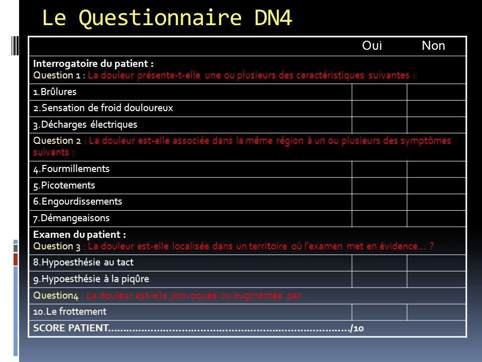 Le Questionnaire DN4 Oui Non Interrogatoire du patient : Question 1 : La douleur présente-t-elle une ou plusieurs des caractéristiques suivantes : 1.B