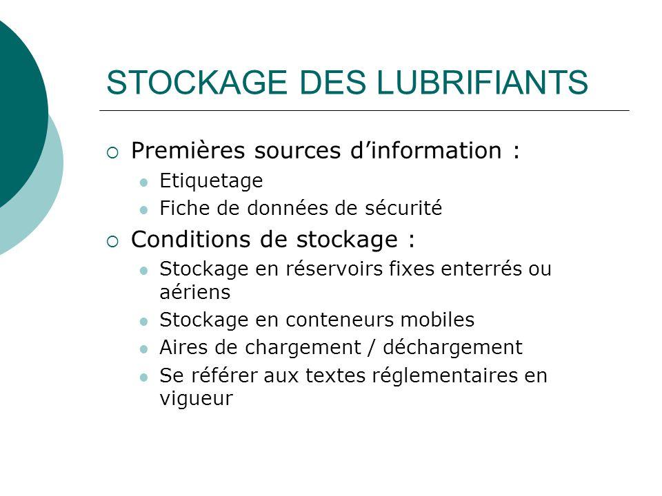 STOCKAGE DES LUBRIFIANTS  Premières sources d'information : Etiquetage Fiche de données de sécurité  Conditions de stockage : Stockage en réservoirs