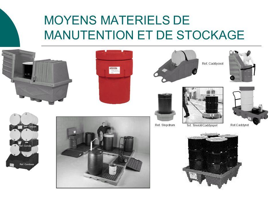 MOYENS MATERIELS DE MANUTENTION ET DE STOCKAGE