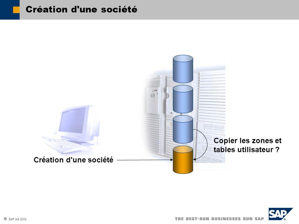  SAP AG 2003 Création d'une société Copier les zones et tables utilisateur ?