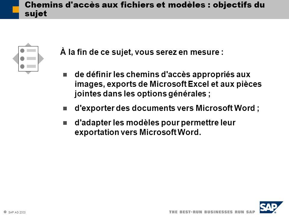  SAP AG 2003 Chemins d'accès aux fichiers et modèles : objectifs du sujet de définir les chemins d'accès appropriés aux images, exports de Microsoft