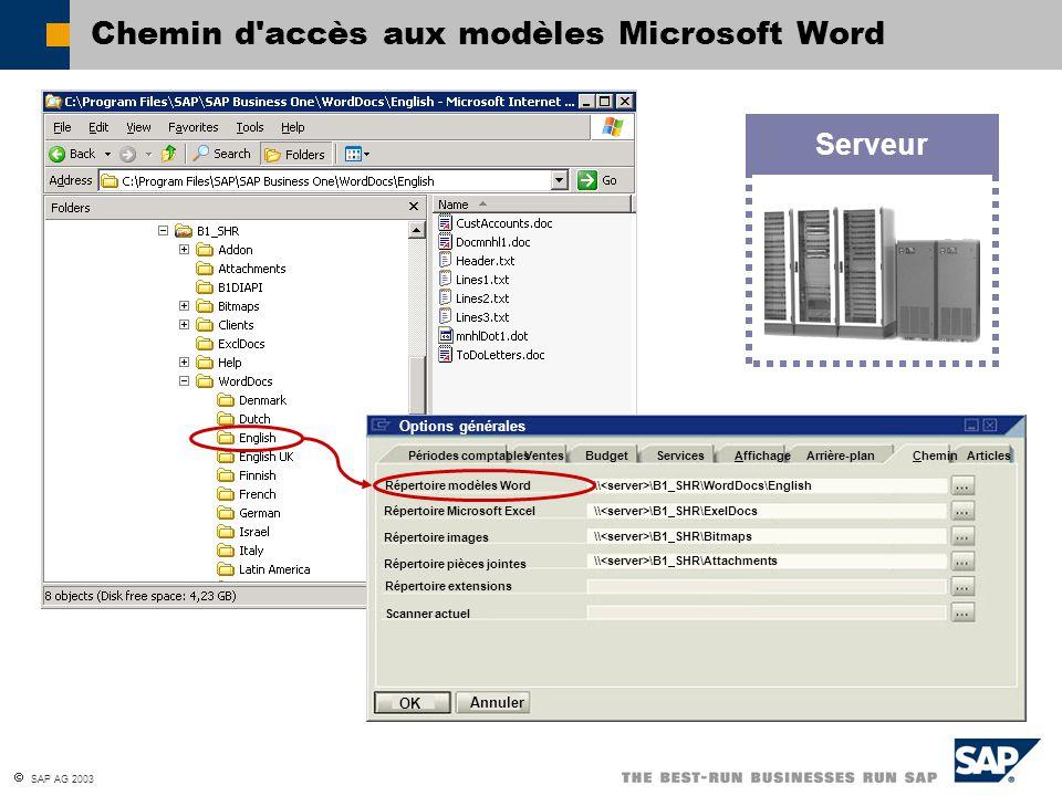  SAP AG 2003 Chemin d'accès aux modèles Microsoft Word Serveur Périodes comptablesVentesBudgetServicesAffichageArrière-planCheminArticles Répertoire