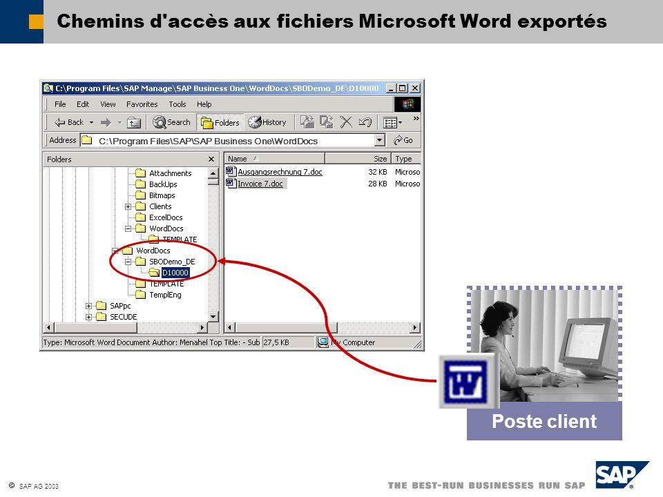  SAP AG 2003 Chemins d'accès aux fichiers Microsoft Word exportés Poste client C:\Program Files\SAP\SAP Business One\WordDocs