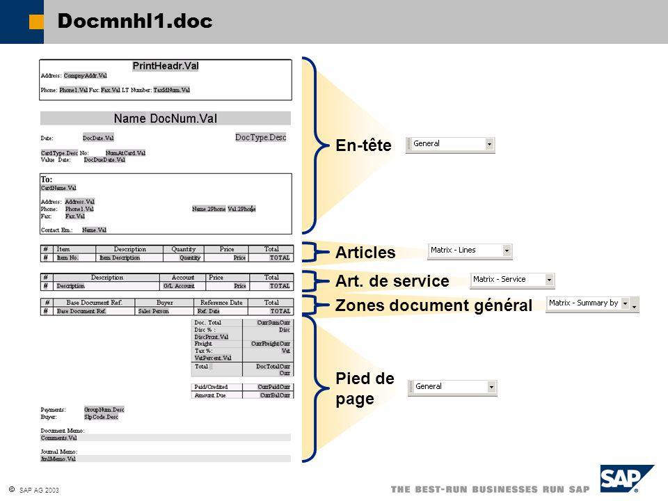  SAP AG 2003 Docmnhl1.doc En-tête Articles Art. de service Zones document général Pied de page