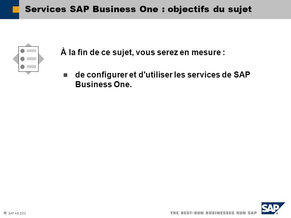  SAP AG 2003 Services SAP Business One : objectifs du sujet de configurer et d'utiliser les services de SAP Business One. À la fin de ce sujet, vous