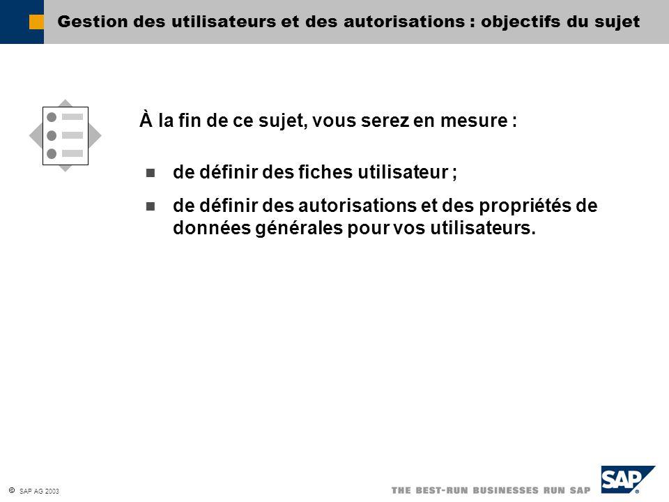  SAP AG 2003 Gestion des utilisateurs et des autorisations : objectifs du sujet de définir des fiches utilisateur ; de définir des autorisations et d