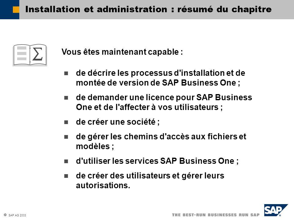  SAP AG 2003 Vous êtes maintenant capable : Installation et administration : résumé du chapitre de décrire les processus d'installation et de montée