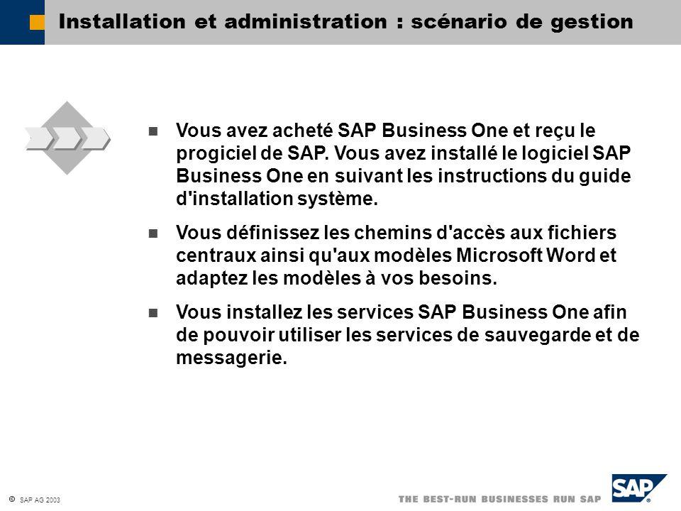  SAP AG 2003 Vous avez acheté SAP Business One et reçu le progiciel de SAP. Vous avez installé le logiciel SAP Business One en suivant les instructio
