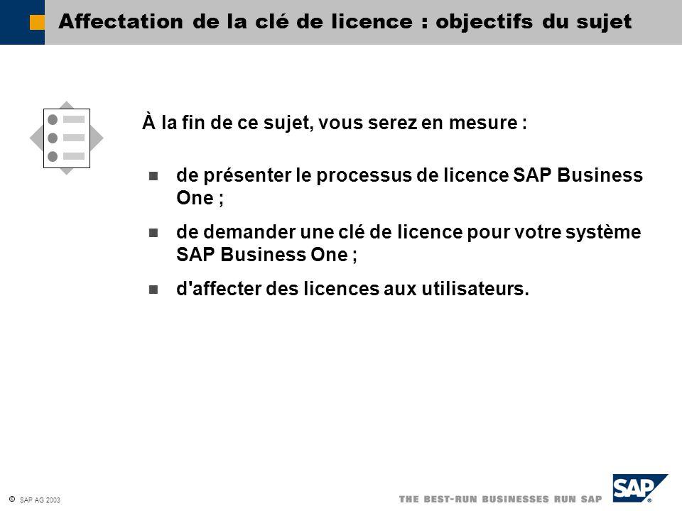  SAP AG 2003 de présenter le processus de licence SAP Business One ; de demander une clé de licence pour votre système SAP Business One ; d'affecter