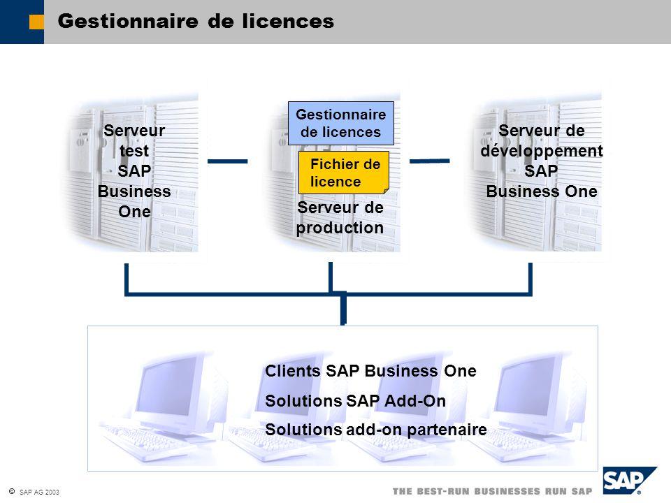  SAP AG 2003 Gestionnaire de licences Serveur test SAP Business One Serveur de production Serveur de développement SAP Business One Gestionnaire de l