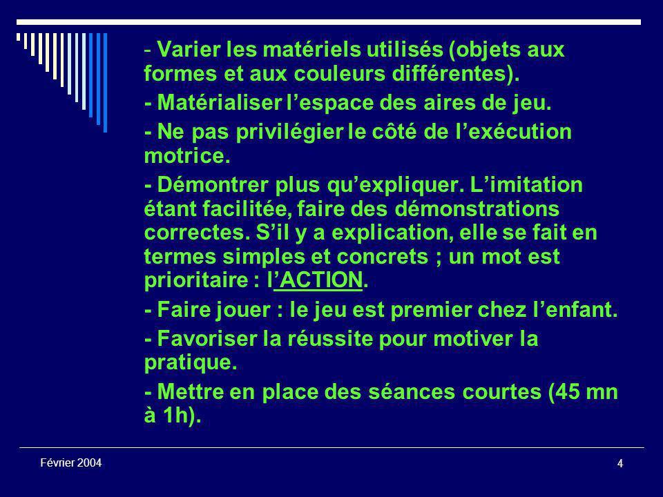 4 Février 2004 - Varier les matériels utilisés (objets aux formes et aux couleurs différentes).