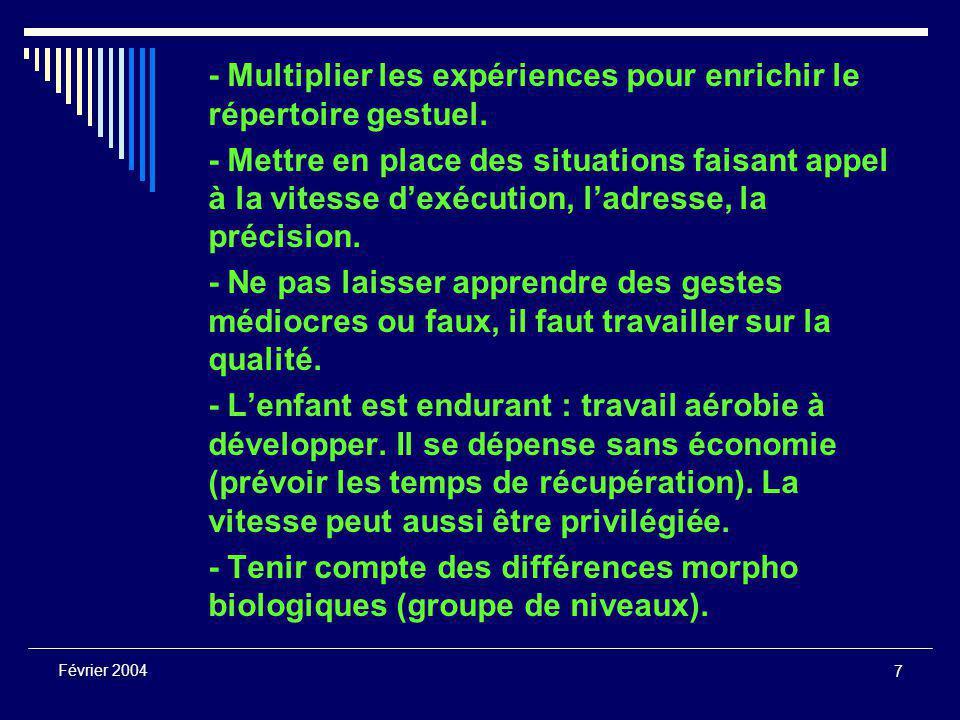 7 Février 2004 - Multiplier les expériences pour enrichir le répertoire gestuel.