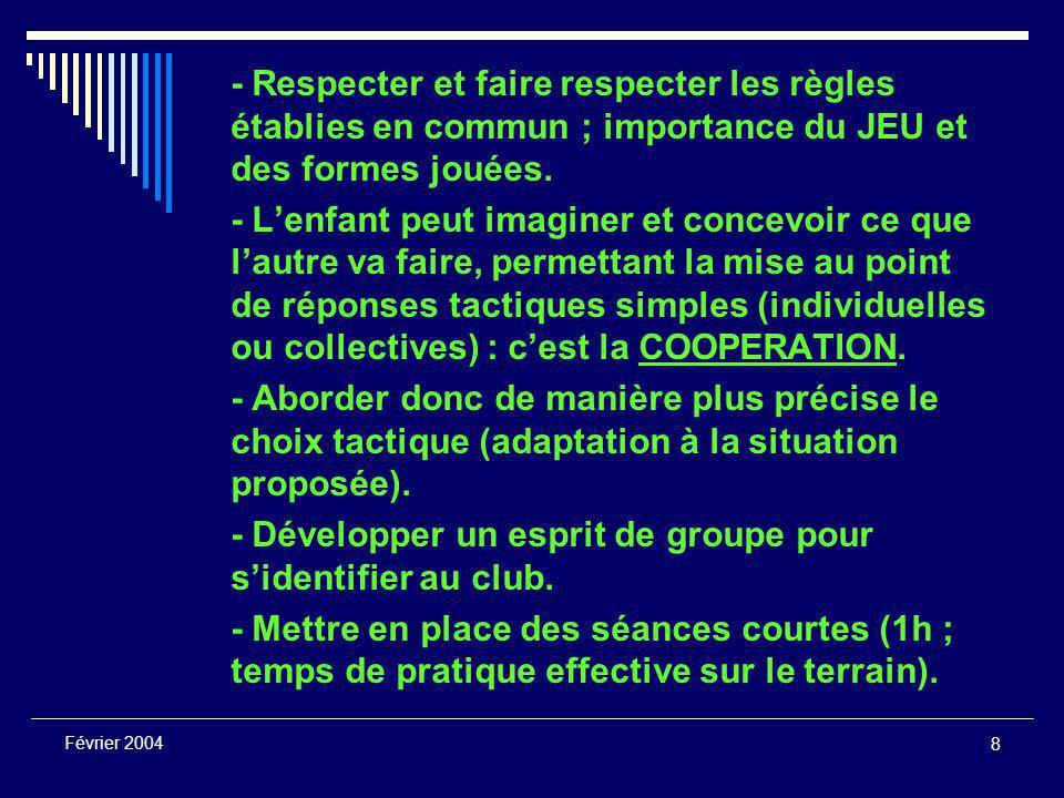 8 Février 2004 - Respecter et faire respecter les règles établies en commun ; importance du JEU et des formes jouées.