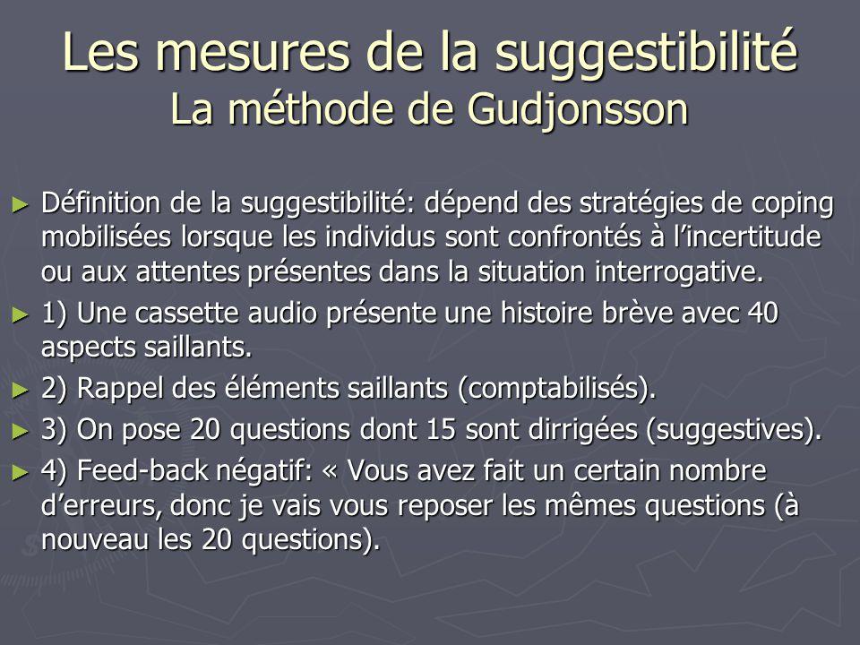Les mesures de la suggestibilité La méthode de Gudjonsson ► Définition de la suggestibilité: dépend des stratégies de coping mobilisées lorsque les in