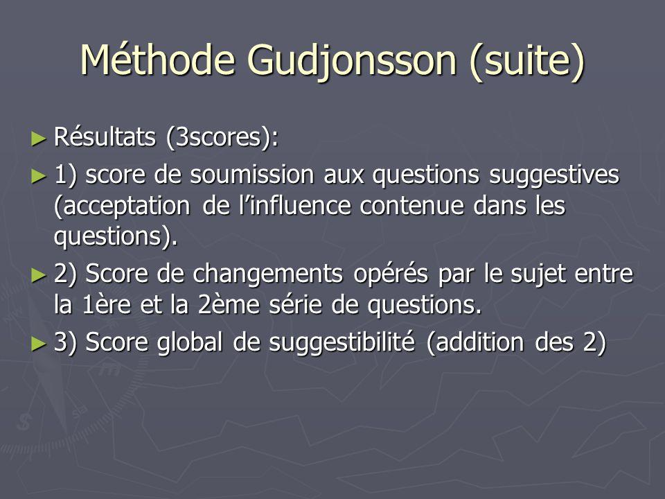 Méthode Gudjonsson (suite) ► Résultats (3scores): ► 1) score de soumission aux questions suggestives (acceptation de l'influence contenue dans les que