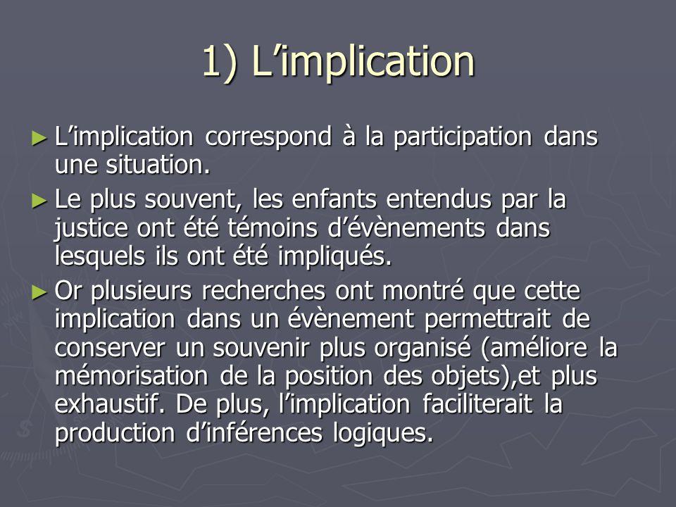 1) L'implication ► L'implication correspond à la participation dans une situation. ► Le plus souvent, les enfants entendus par la justice ont été témo