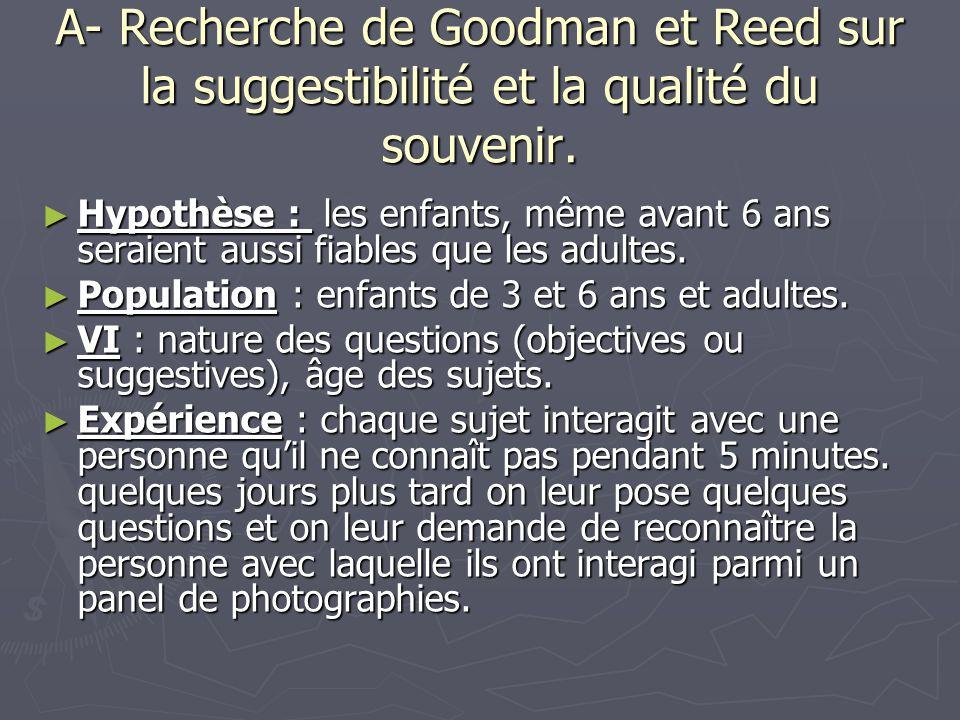 A- Recherche de Goodman et Reed sur la suggestibilité et la qualité du souvenir. ► Hypothèse : les enfants, même avant 6 ans seraient aussi fiables qu