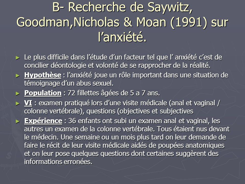 B- Recherche de Saywitz, Goodman,Nicholas & Moan (1991) sur l'anxiété. ► Le plus difficile dans l'étude d'un facteur tel que l' anxiété c'est de conci