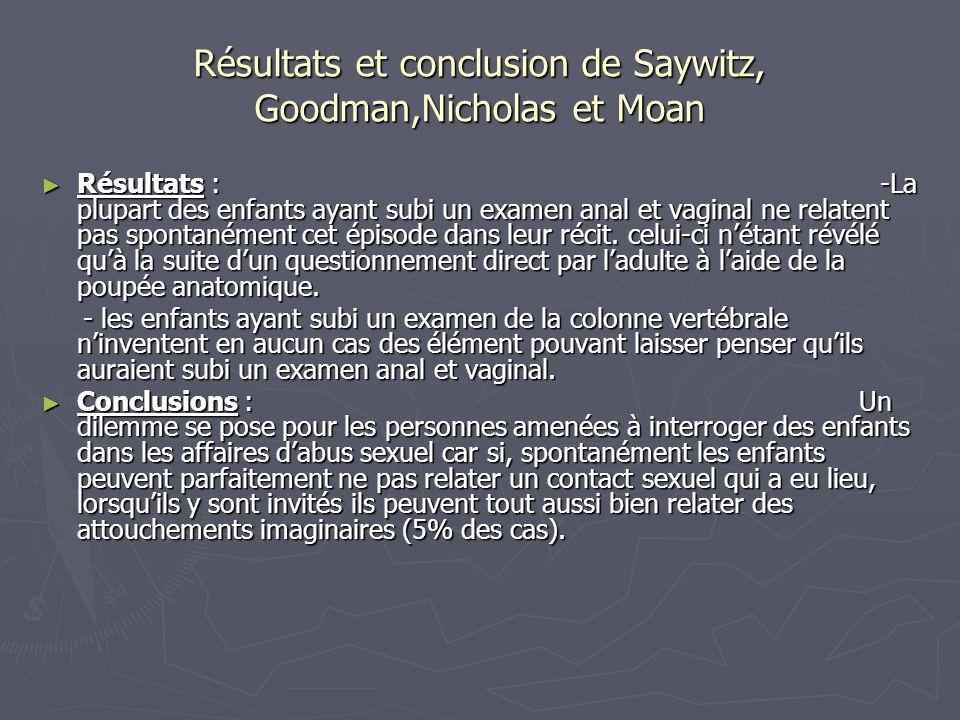 Résultats et conclusion de Saywitz, Goodman,Nicholas et Moan ► Résultats : -La plupart des enfants ayant subi un examen anal et vaginal ne relatent pa