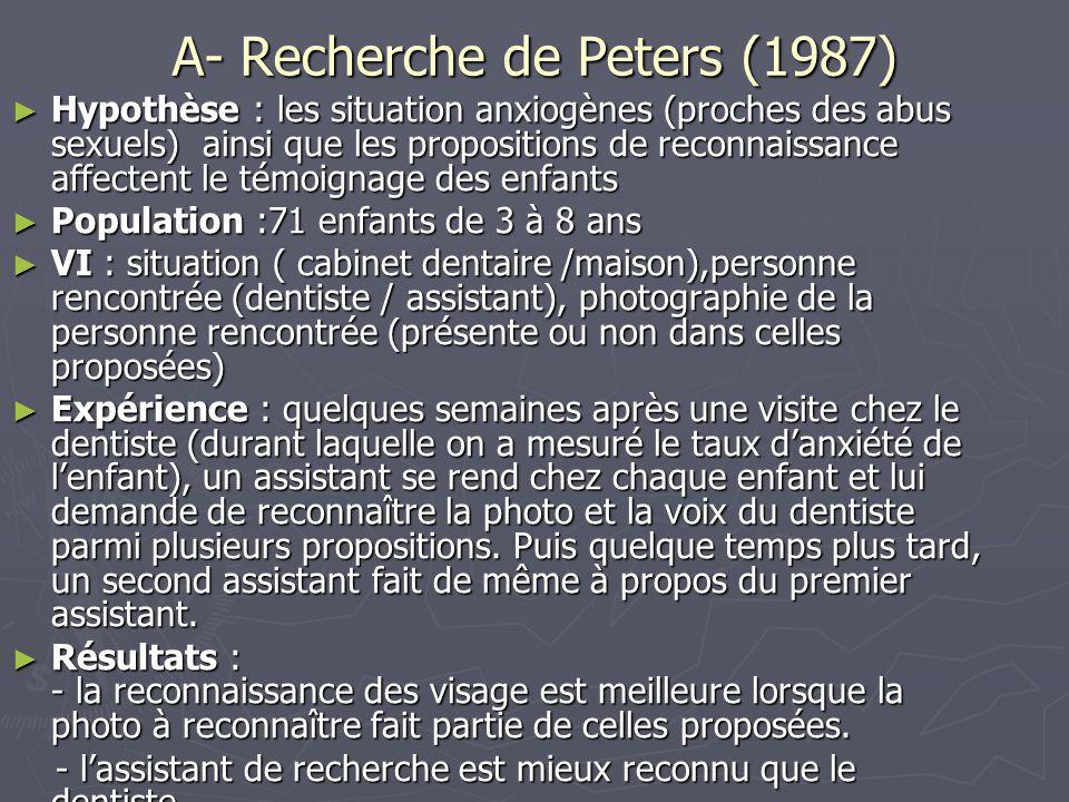 A- Recherche de Peters (1987) ► Hypothèse : les situation anxiogènes (proches des abus sexuels) ainsi que les propositions de reconnaissance affectent