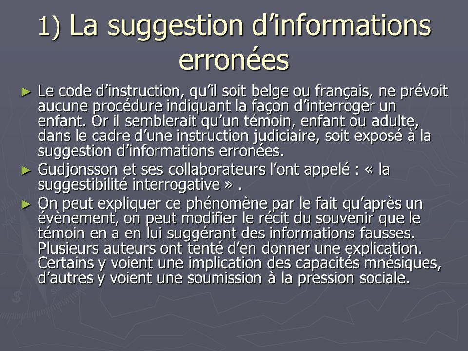 1) La suggestion d'informations erronées ► Le code d'instruction, qu'il soit belge ou français, ne prévoit aucune procédure indiquant la façon d'inter
