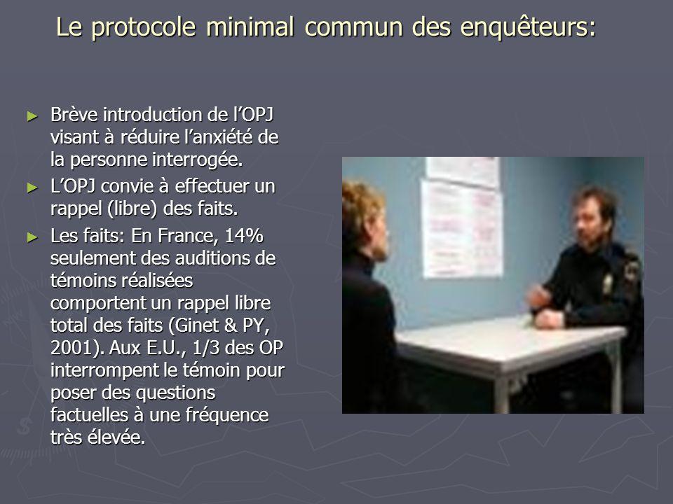 Le protocole minimal commun des enquêteurs: ► Brève introduction de l'OPJ visant à réduire l'anxiété de la personne interrogée. ► L'OPJ convie à effec