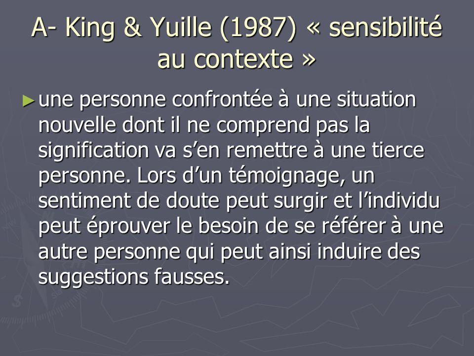 A- King & Yuille (1987) « sensibilité au contexte » ► une personne confrontée à une situation nouvelle dont il ne comprend pas la signification va s'e
