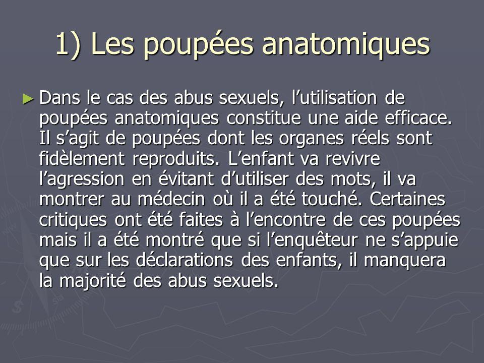 1) Les poupées anatomiques ► Dans le cas des abus sexuels, l'utilisation de poupées anatomiques constitue une aide efficace. Il s'agit de poupées dont