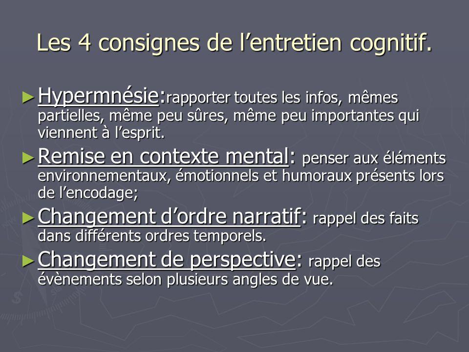 Les 4 consignes de l'entretien cognitif. ► Hypermnésie: rapporter toutes les infos, mêmes partielles, même peu sûres, même peu importantes qui viennen