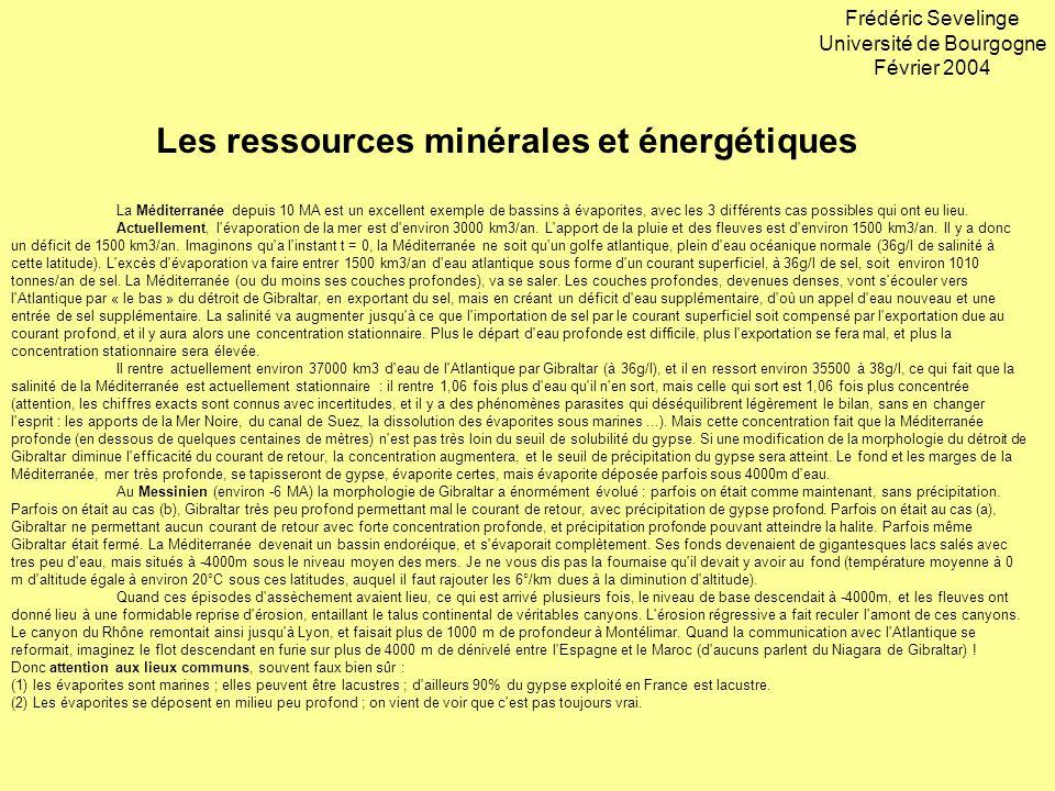 Les ressources minérales et énergétiques Frédéric Sevelinge Université de Bourgogne Février 2004 La Méditerranée depuis 10 MA est un excellent exemple